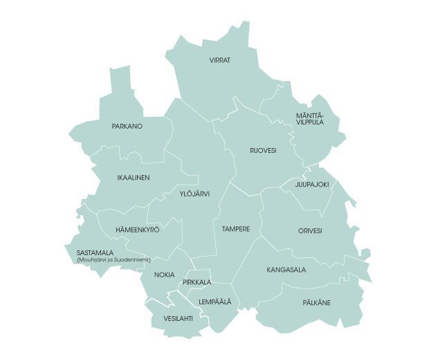 Kartta Pirkanmaan Jätehuollon omistajakunnista