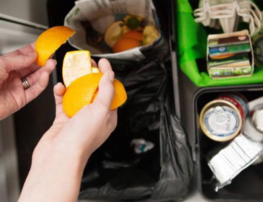 Appelsiinin kuoria lajitellaan biojätepussiin.