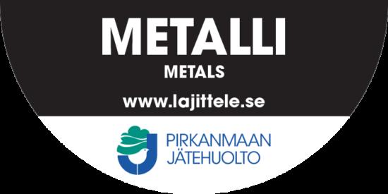 Metalli tarra jäteastiaan.