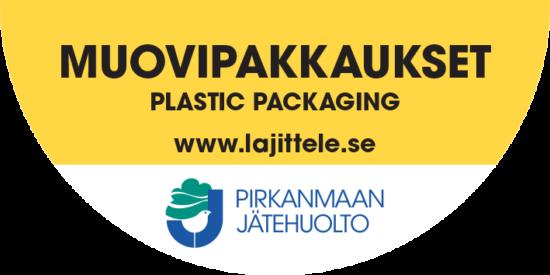 Muovipakkaukset tarra jäteastiaan.